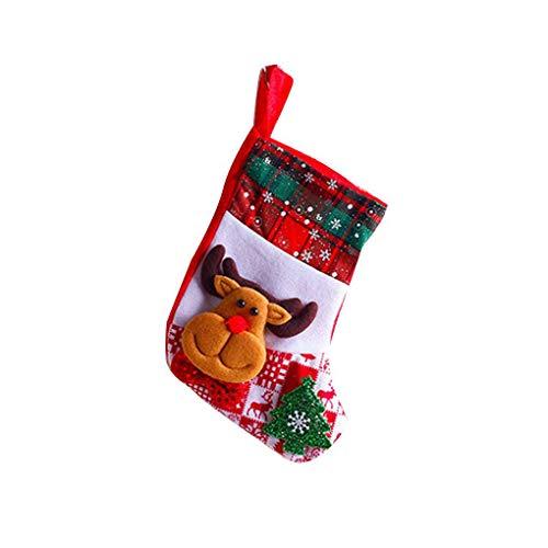 Busirde Snowflake Weihnachtssocken Weihnachtsmann Schneemann Elch Bär Folks Tasche Süßigkeit-Geschenk-Beutel-Strümpfe Elch -