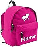 Shirtinstyle Kinder Rucksack Pferd, Pony, mit Name veredelt, ideal für Kita, Farbe pink
