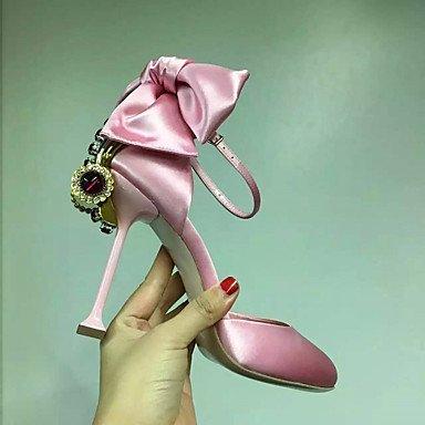 Talloni delle donne Primavera Estate Autunno Dress Club scarpe di seta Party & Sera stiletto tacco casual strass bowknot Nero Rosa Pink