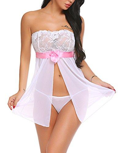 Damen Negligee - Trägerlos Bandeau Babydoll Split Front Nachtwäsche Mini Nachtkleid Transparent Nachthemd Reizwäsche Lingerie Kleider, Sexy Spitzen Dessous