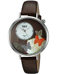 Burgi Piel de color marrón de cuarzo para mujer vestido reloj (Modelo: