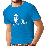 N4247 T-shirt pour hommes Funny Robot and apple (Medium Blue White)