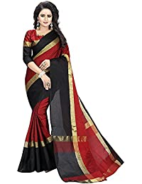 Rajeshwar Fashion Women's Cotton Silk Cotton Silk Saree (Aangi Red And Black Border_Red)