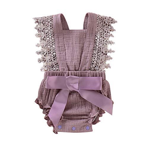 Haokaini - Neugeborenen Sommer ärmellose Strampler, Baby Rüschen Overall Outfits, Lace Bowknot Bodysuits Sonnenanzüge (Violett, 0-3 Monate) (Grüne Kleider Für Mädchen Größe 10)