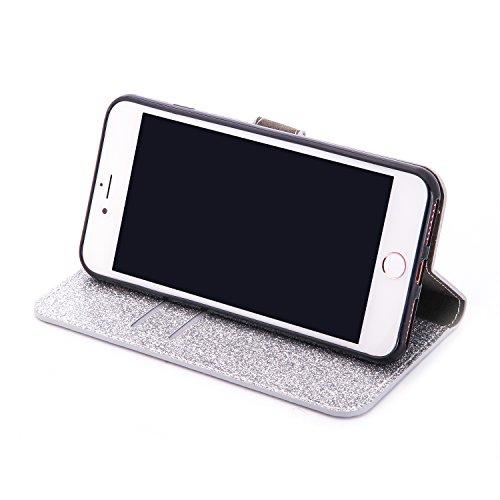 Lusso Wallet Case per iPhone 6Plus, MAOOY iPhone 6sPlus Moda Sparkle Shiny Cristallo Rhinestone Cassa, iPhone 6Plus/6sPlus Libro Portafoglio Custodia con Magnatic Closure & Carta di Credito & Basament Argento 2
