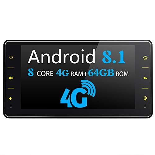 JOYFORWA Autoradio Android 8.1 4GB + 64GB 6,2 Zoll Single Din Touchscreen-Radio mit 4G LTE + WiFi-Verbindung - Unterstützt Android Auto/DSP/SPDIF/Schnellstart/Bluetooth / OBD2 / TPMS/DVR