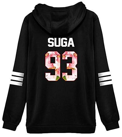 ShallGood Femme Automne Mode BTS Fans Sweats à Capuche à Manches Longues Varsity Rayé Encapuchonné Sweatshirt Décontractée Hooded Chemisiers Tops SUGA-93 Pink FR 38
