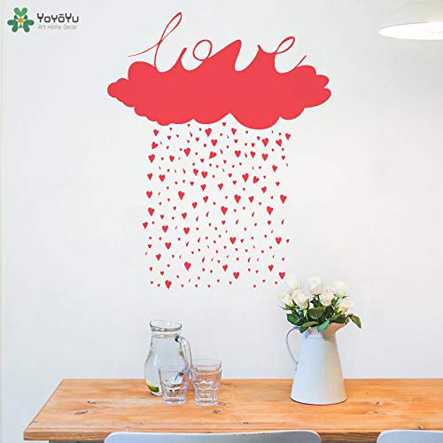 ove Cloud Heart Rain Wall Sticker Removable Houseware Modern Home Decor Girls Bedroom Decoration Poste 42x52cm ()