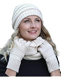 Amazon.fr   Bonnet Blanc Femme - Packs bonnet, écharpe et gants ... 1b6da8cb0e5