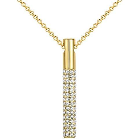Da donna oro rosa 18K/oro giallo/platino placcato cristalli pavimentazione Stetched pilastro ciondoli