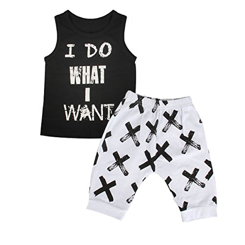 Puseky Baby Boys Cool Sleeveless Shirt Top+Short Pants Outfit Set Summer Clothes (9-12 Months, Black+White)