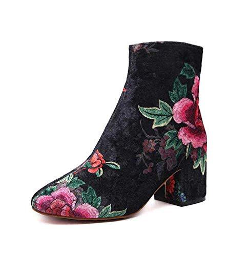 Mamrar Chelsea Boots 6Cm Chunkly Heel Stickerei Knöchel Booties Kleid Schuhe Frauen Elegent Runde Zehen Rosenmuster Nackte Stiefel 2018 Auturm Winter EU-Größe 34-43,Color,37EU (Für Kleid Winter Frauen Stiefel)