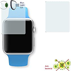 2 x DISAGU ClearScreen screen protection film for Apple Watch Sport 42mm antibacterial, BlueLight filter protective film (intentionally smaller than the display due to its curved surface)