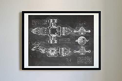 DolanPaperCo #354 Serenity Firefly Kunstdruck, da Vinci Sketch, ungerahmt, Verschiedene Größen/Farben 16x20 Blackboard