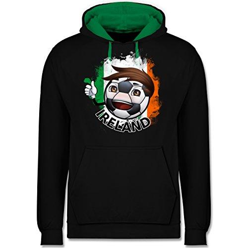 Fußball - Fußballjunge Irland - Kontrast Hoodie Schwarz/Grün