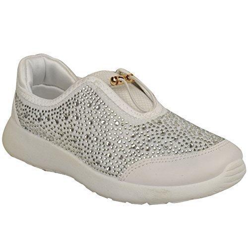 Strass Sapatilhas Sapatos Femininos Bombas Sneakers Lazer Lace Tamanho Plana Couro Sintético Branco