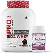 GNC Pro Performance Whey Protein - 4.4 lbs, 2 kg (Chocolate Fudge) & Get GNC L-Arginine 90 tablets