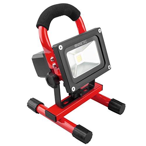 NINETEC 10W LED Flutlicht Fluter Lampe Außen Strahler kabellos Baustrahler tragbar Rot
