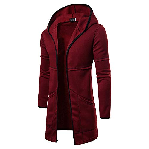 Manteau Veste Cardigan Mode Hommes À Capuche Solide Trench à Manches Longues Blouse Outwear Malloom