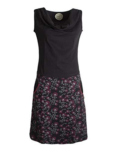 Vishes - Alternative Bekleidung - Damen Baumwoll-Kleid, Blumen-Muster, Wasserfall-Kragen und Taschen schwarz 44 - Baumwolle Jersey Kleid Shirt
