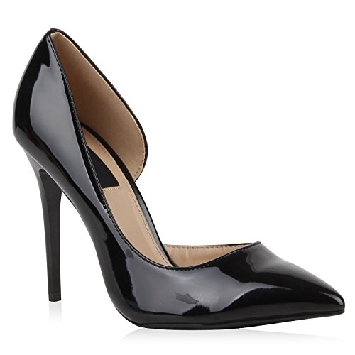 Spitze Pumps Damen High Heels Riemchenpumps Lack Cut-Outs Quasten Riemchen Stilettos Rothe Sohle Schuhe 110556 Schwarz Glanz 38 Flandell