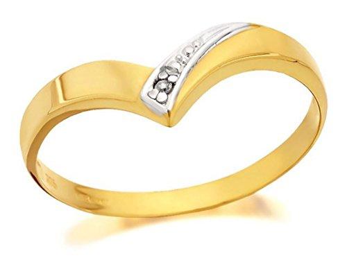 8435ec3ac F. Hinds Womens Ladies Jewellery 9ct Yellow Gold Diamond Wishbone Ring - P