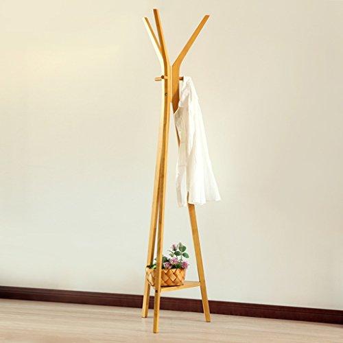 LYM Stehender Huthänger Mantel Hut Rack Holz Stand, Hall Baum mit 6 Haken Display Stand Einfache Montage von Regalen ( Farbe : Gold , größe : 39.7*168CM )