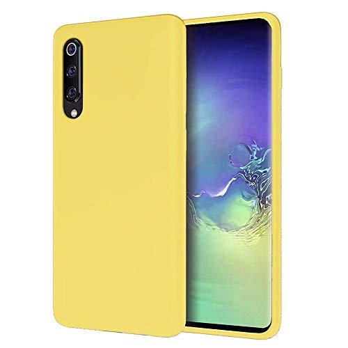 MUTOUREN Xiaomi Mi 9 SE Case Liquid Slim Thin Silicone Gel Rubber Shockproof Case Soft Microfiber Cloth Lining Cushion Full Body Protective Compatible for Xiaomi Mi 9 SE, Lemon Yellow