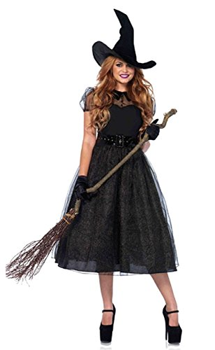 ShallGood Damen Rotkäppchen Halloween Weihnachten Performance Kleid Hoodie Schal Kostüm Pirat Hexe Cosplay Dress Kleid Passt Set Zombie Ghost Kleid Dress Hexe De (Westens Hexe Des Sexy Böse Kostüme)