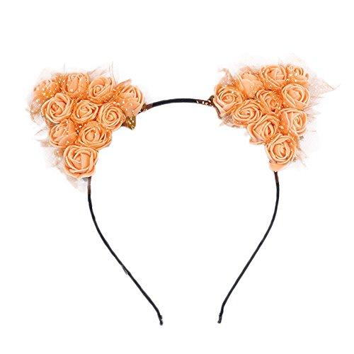 Dosige Haarreif Schwarz Schaum Katzenohren Ohren Kostüm Haar Stirnband für Party und Tägliche Tragen 0.5cm Breit Orange