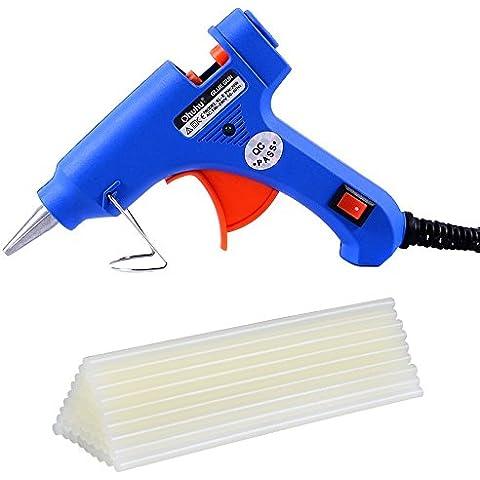Ohuhu® Pistola Incollatrice Colla a Caldo Termocollante con 25pz Colla Stick Tubo da Ricambio, Alimentatore EU