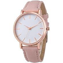 HARRYSTORE 2017 Relojes de pulsera de cuero de acero inoxidable hombres simples mujeres de acero analógico cuarzo reloj de pulsera (Rosa)