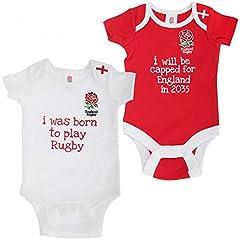 Idea Regalo - England Rugby - Coppia di Body con Stemma e Scritte - Neonati (12-18 mesi) (Bianco/Rosso)
