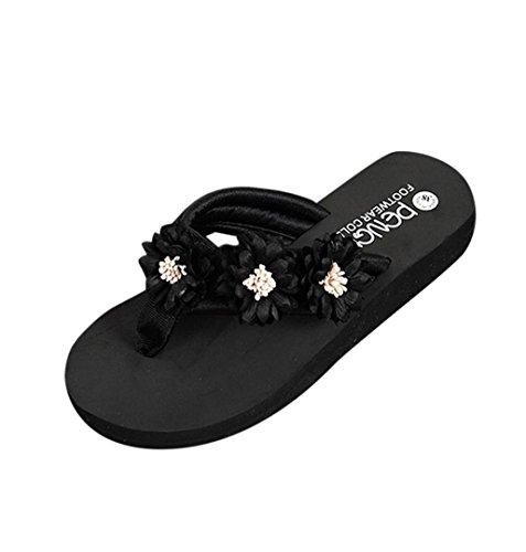 ZEZKT-SchuheSommerschuh Hausschuhe Damen Schuh Mädchen Plattform Strandschuhe Frauen Offene Damenschuhe Abendschuhe Keilabsatz Bequem Elegante Freizeitschuhe Party Slipper Zehen Schuhe (36, Schwarz)