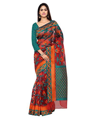 Inddus Maroon Banarasi Tissue Woven Traditional Saree
