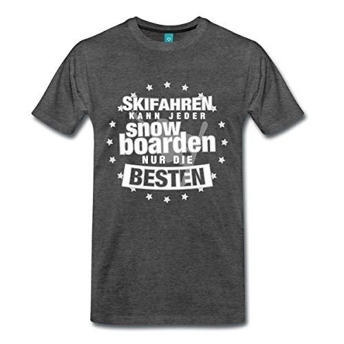 Spreadshirt Skifahren Kann Jeder Snowboarden Männer Premium T-Shirt, 3XL, Anthrazit