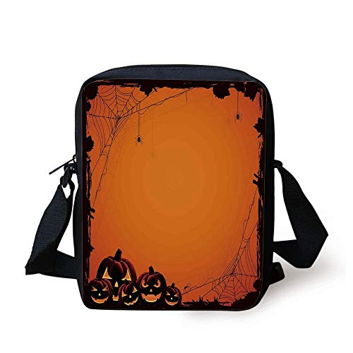 Halloween Decorations,Grunge Spider Web Pumpkins Horror Time of Year Trick or Treat,Orange Seal Brown Print Kids Crossbody Messenger Bag Purse