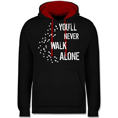 Shirtracer Hunde - You'll Never Walk Alone Gassi - 4XL - Schwarz/Rot - JH003 - Kontrast Hoodie Baja Womens Sweatshirt
