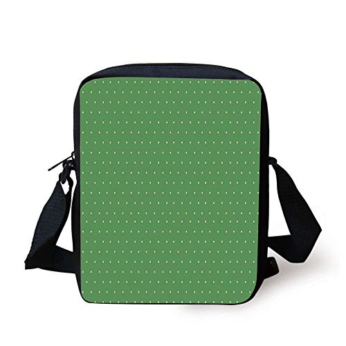 Designer Inspired Bag Purse Handtasche (CBBBB Green,50s 60s Style Retro Vintage Inspired Simple Decor with Little Polka Dots Image Decorative,Green and White Print Kids Crossbody Messenger Bag Purse)