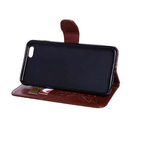 CaseHome iPhone 6 Plus/6S Plus 5.5'' Hülle Geprägter Henna Blume Muster Buch-Stil Folio Magnetic Schließung Portemonnaie Stilvolle Elegante Entwurf (Mit Freiem HD Schirmschutz) mit Kreditkartensteckpl Braun