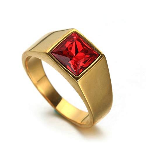 Aeici Ringe Herren Rocker Goldring mit Rotem Quadratischen Zirkonia Ringe Gold Ringgröße 67 (21.3)