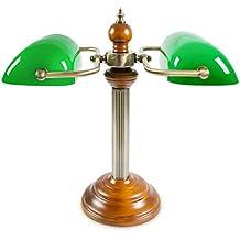 Lámpara de banquero Lámpara Banker con dos pantallas de color verde Portalámparas E 27