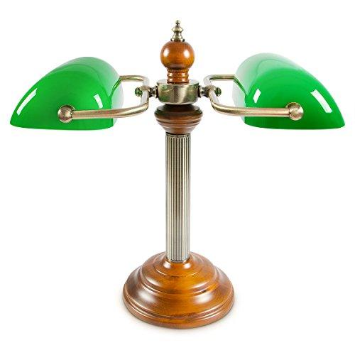 Relaxdays Bankerlampe JONES Duo mit Holzfuß & 2 Lampen, 45 cm hoch 10016604