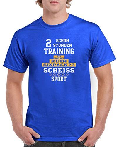 Comedy Shirts - Schon 2 Stunden Training und Immer noch kein Sixpack?? - Herren T-Shirt - Royalblau/Weiss-Gelb Gr. XXL (Party-stadt Weihnachten Stunden)