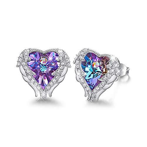 CDE Gepiercte Ohrstecker Ohrringe mit Geschenkbox für Damen aus blauen Swarovski Kristallen Weißes Gold überzogener Bolzen-Ohrring für Mädchen