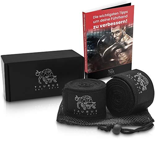 TΛURUS Premium Boxbandagen - inklusive Ebook & Wäschebeutel - 4M Boxbandage - die optimalste Handbandagen für Dein Training - Bandagen Boxen -