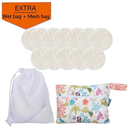 Teamoy discos desmaquillantes reutilizables, con 1 bolsa de lavandería y 1 Bolsa de almacenamiento, Almohadillas para removedor de cara/ojos 12pcs
