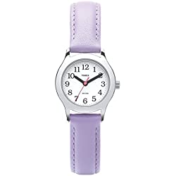 Timex Youth T790914E Easy Reader Purple Leather Strap Watch