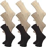 9 Paar Damen Venensocken - Socken ohne Gummi - ohne drückende Naht - Komfortbund (39-42, grau)