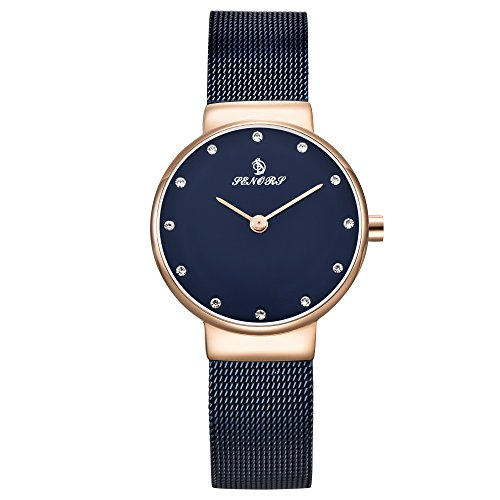Uhr, Damenuhr, Ultra Dünne Kristall Skala Elegante Mode Zifferblatt Damen Edelstahl Mesh Band Armband Kleid Uhren Wasserdichte Analoge Quarzuhr (Rose Gold und Blau)